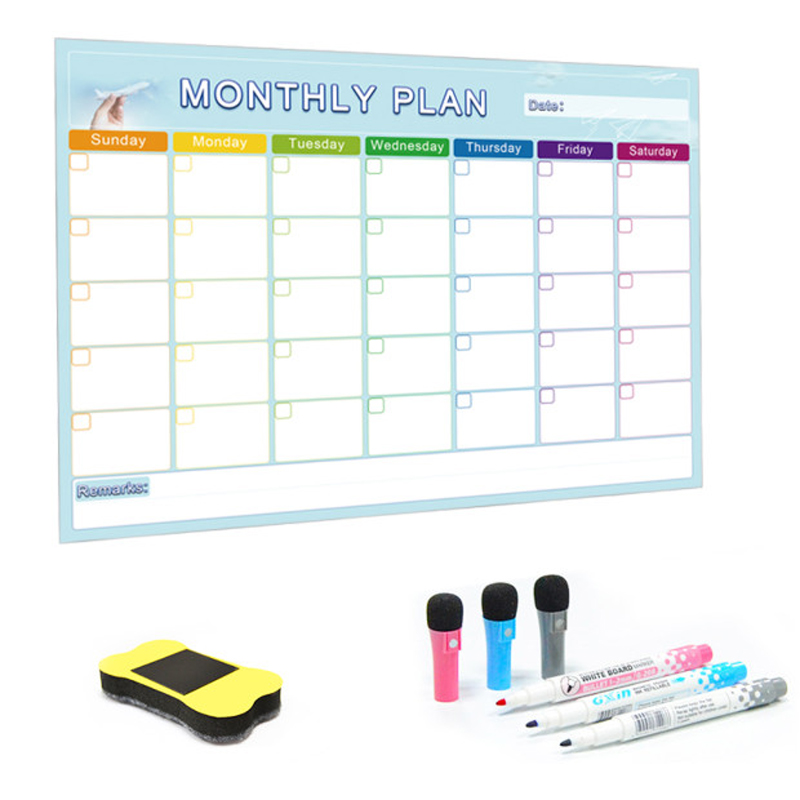 YIBAI A3 Monthly Planner Magnetic Whiteboard Message Board For School Home Bulletin Memo Boards Fridge Magnet Calendar 30*42cm