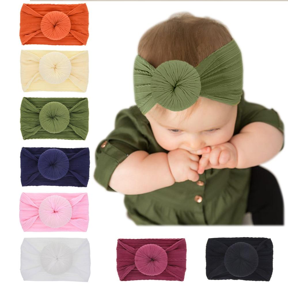Yundfly New Round Ball Knot Baby Headband Donut Nylon Stripe Kids Girls Headwraps Children Bithday Gifts Hair Accessories