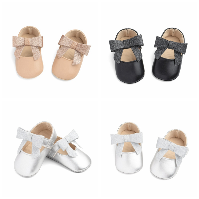 2019 New Newborn Baby Girl Bow Princess Shoes Soft Sole Crib Shoes Leather Solid Flat Baby Shoes 3 Colors