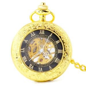 Image 5 - 블랙 steampunk 레트로 기계 포켓 시계 hollowed 목걸이 운동 포켓 & fob 시계 체인 남성 여성 시계 선물