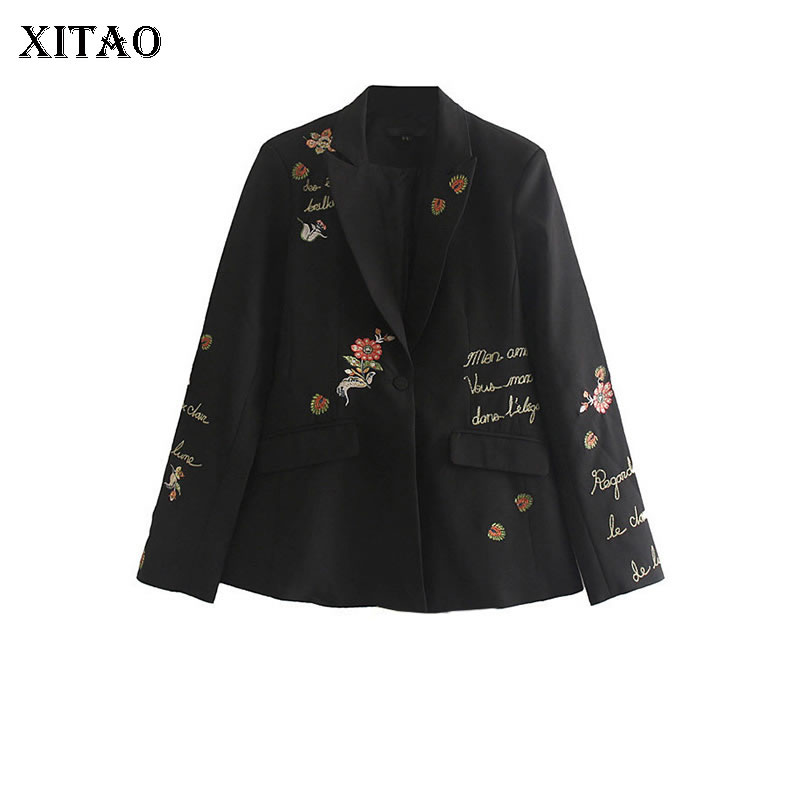 XITAO Letter Pattern Blazer Fashion New Women Black Embroidery Notched Collar Full Sleeve Loose Minority Coat Top DMY2685