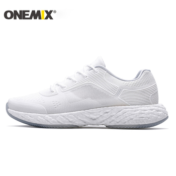 ONEMIX White Running Shoes For Men Outdoor Women Athletic Sneakers Marathon Sport Walking Shoes Travel Trekking Jogging Footwear