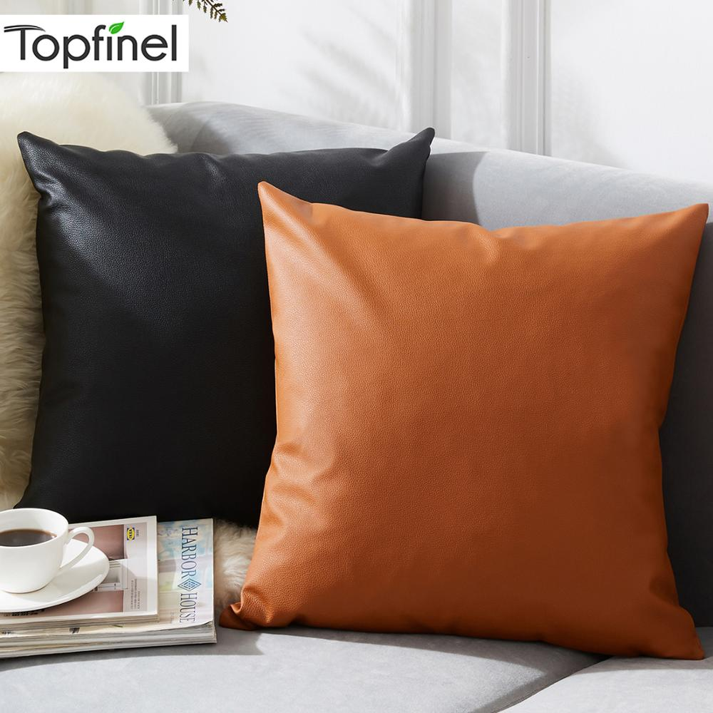Topfinel Solid PU Leather Pillowcases Decoration Cushions Covers For Sofa Bed Car Seat Pillow Cover Waterproof Throw Pillows image