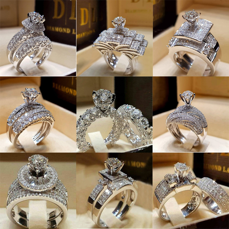 2 PCS/Set Series ! Trendy Milangirl White Crystal Round Ring Set For Women Girls Wedding Engagement Party Fashion Jewelry