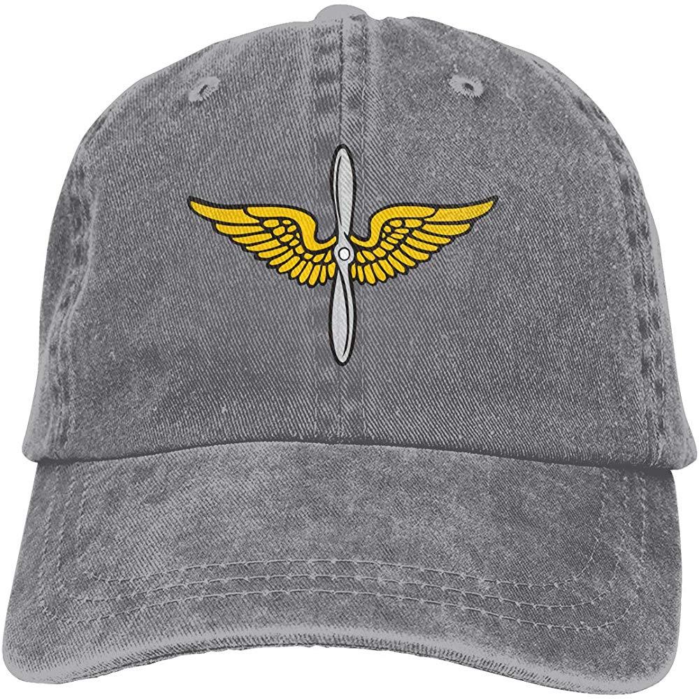 Men Women Master Army Aviator Wings Baseball Cap Denim Dad Hat Trucker's Cap