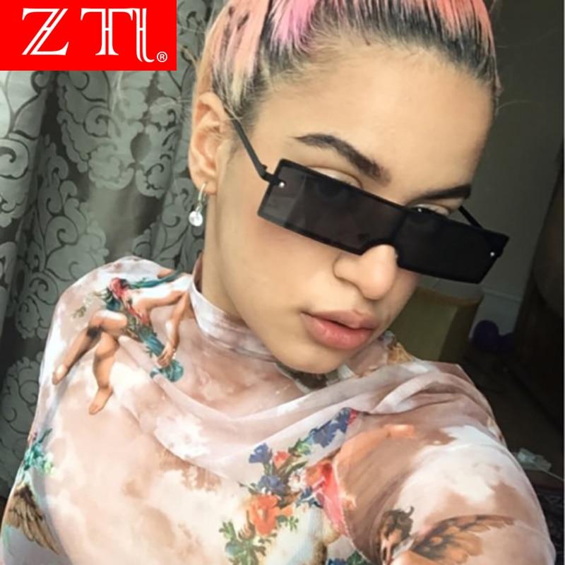 ZT Brand Designer Small Rectangle Rimless Sunglasses Women Retro Clear Pink Red Orange Integrated Lens UV400