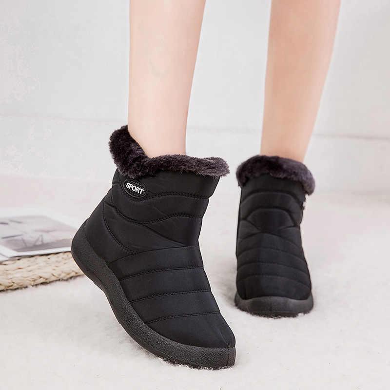 Kış yarım çizmeler 2019 moda su geçirmez kar botları kış ayakkabı kadın rahat hafif zip sıcak peluş kürk kadın botları