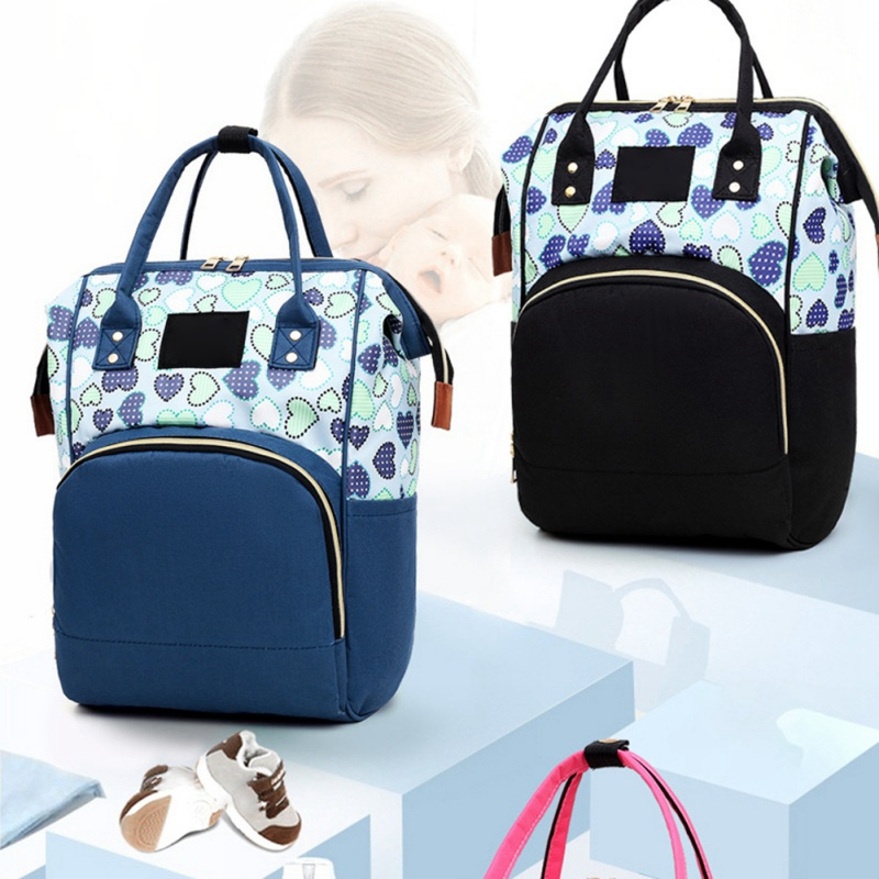 Portable Travel Fashion Heart Print Mummy Bag Large Capacity Waterproof Backpack Multi-function Backpack
