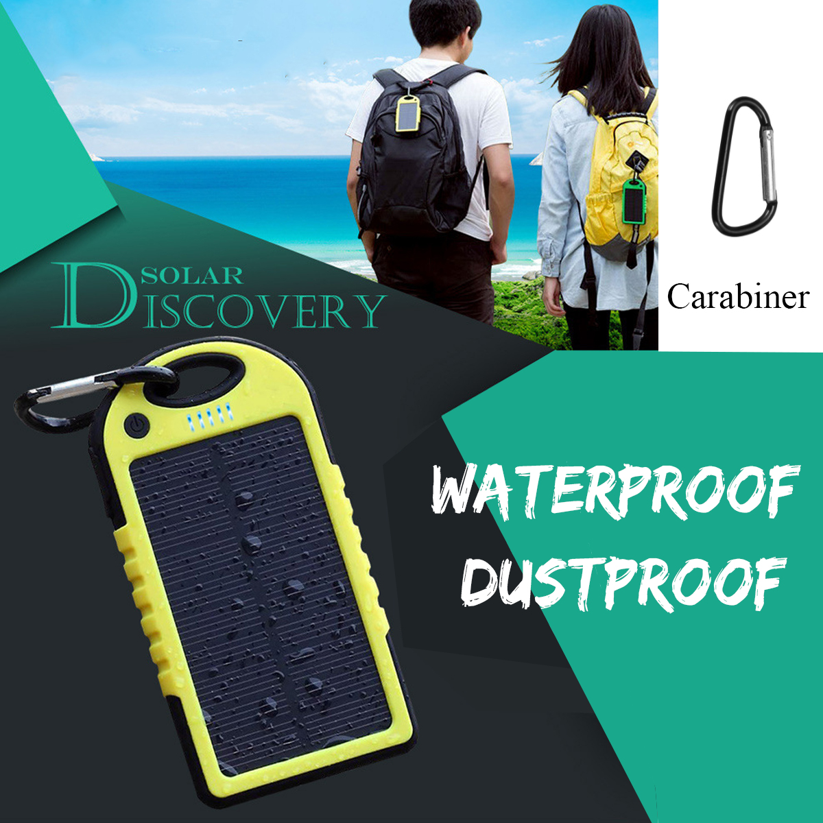 Portable 12000mAh Solar Power Bank for Charging iPhone/iPads/Android Phones/Cameras 1