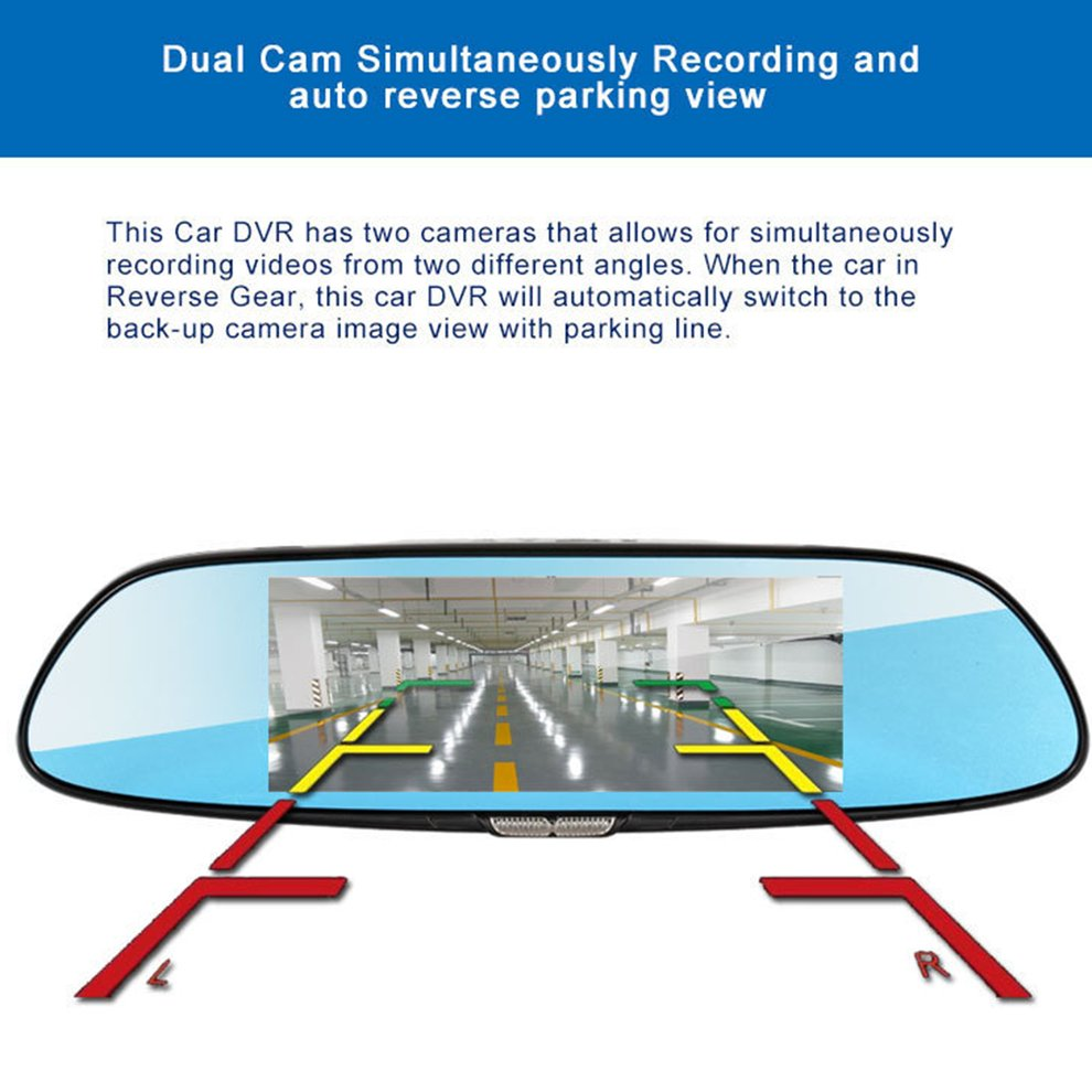 H10 Car DVR 3G Rearview Mirror Video Recorder 7 inch Touch Screen 1080 FHD Dual Camera Hand free FM Transmission - 6