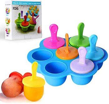 7 cavidades Mini molde para paletas de hielo de silicona con palos de plástico coloridos molde para crema contenedores de almacenamiento de alimentos para bebés bandejas de cubitos de hielo