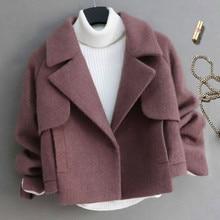 Women Short Slim Woolen Jacket Coat