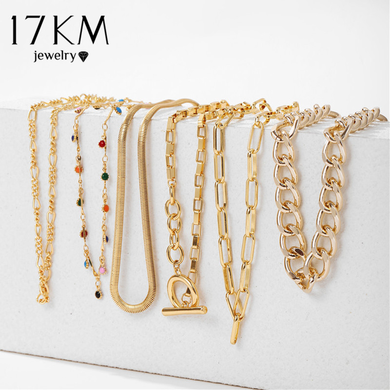 17KM Vintage Multilayer Lock Pendant Necklace For Women Gold Bohemian Rainbow Beads Choker Snake Chain Link Necklaces Jewelry