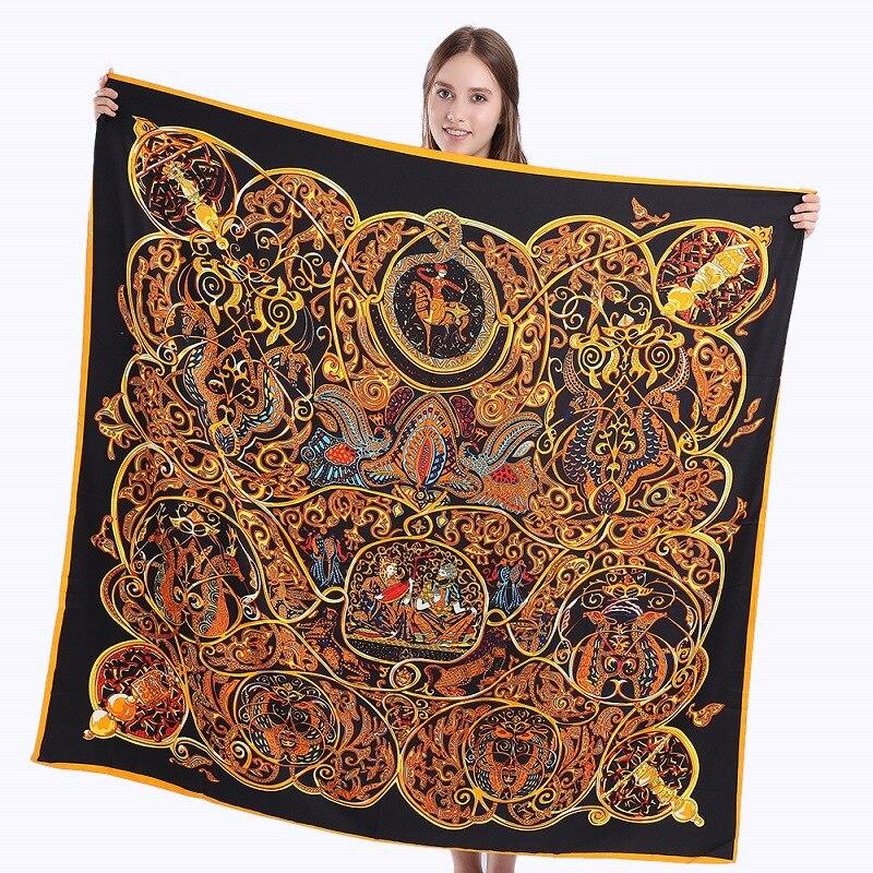 Promo  Fashion new hot selling twill silk women's silk scarf 130cm square scarf Hobby man printshaw scarf