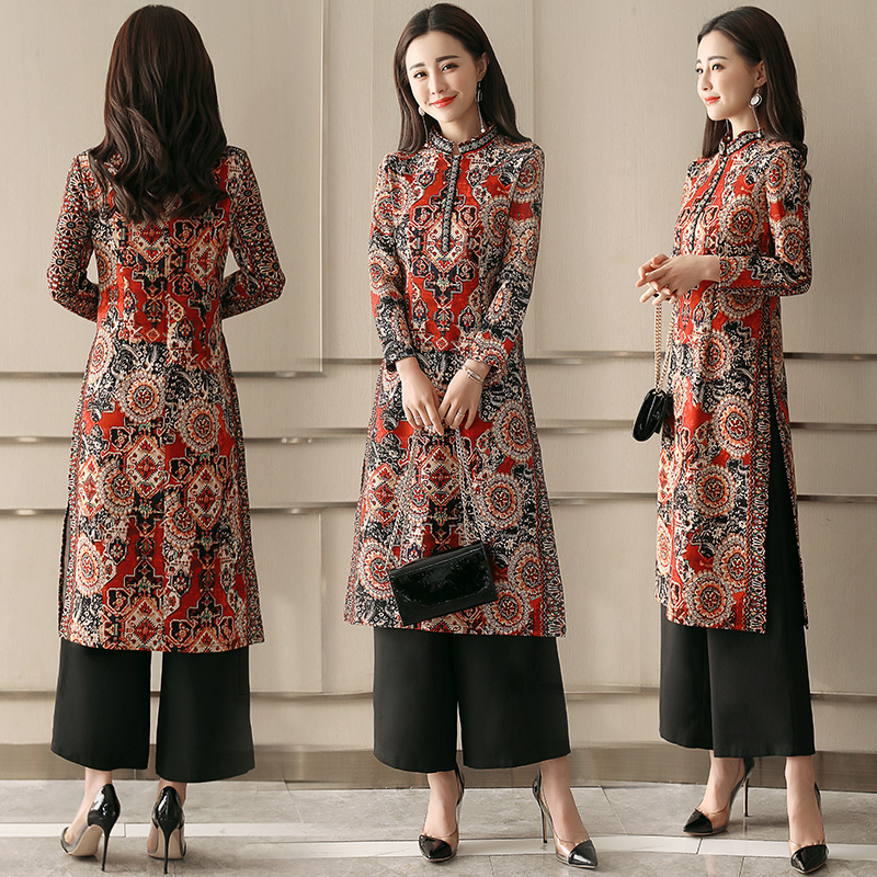 National Style Printed Dress Autumn 2018 New Women's Long Women's Spring Chinese Style Socialite Temperament Skirt