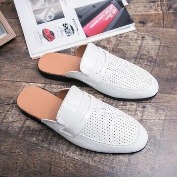 Zapatillas de verano 2020 para hombres, sandalias de playa informales, mocasines antideslizantes para hombres, mulas clásicas para hombres, mocasines, deslizantes para hombres, zapatos planos, blanco