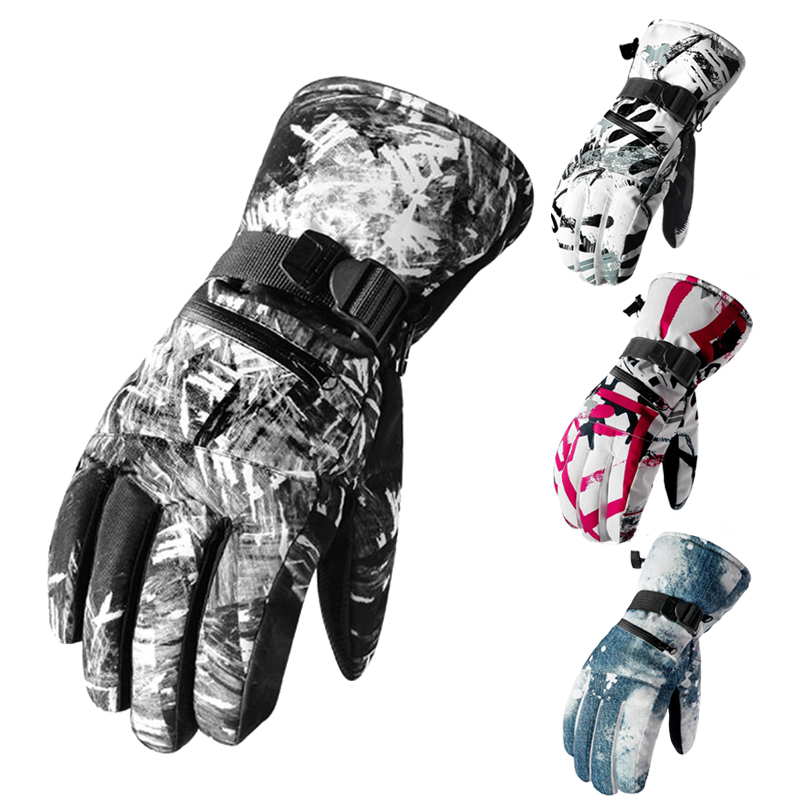 Men Women Ski Gloves Winter Waterproof Anti-Cold Warm Gloves Multicolor Outdoor Sport Snow Touchscreen Sportswear Skiing Gloves