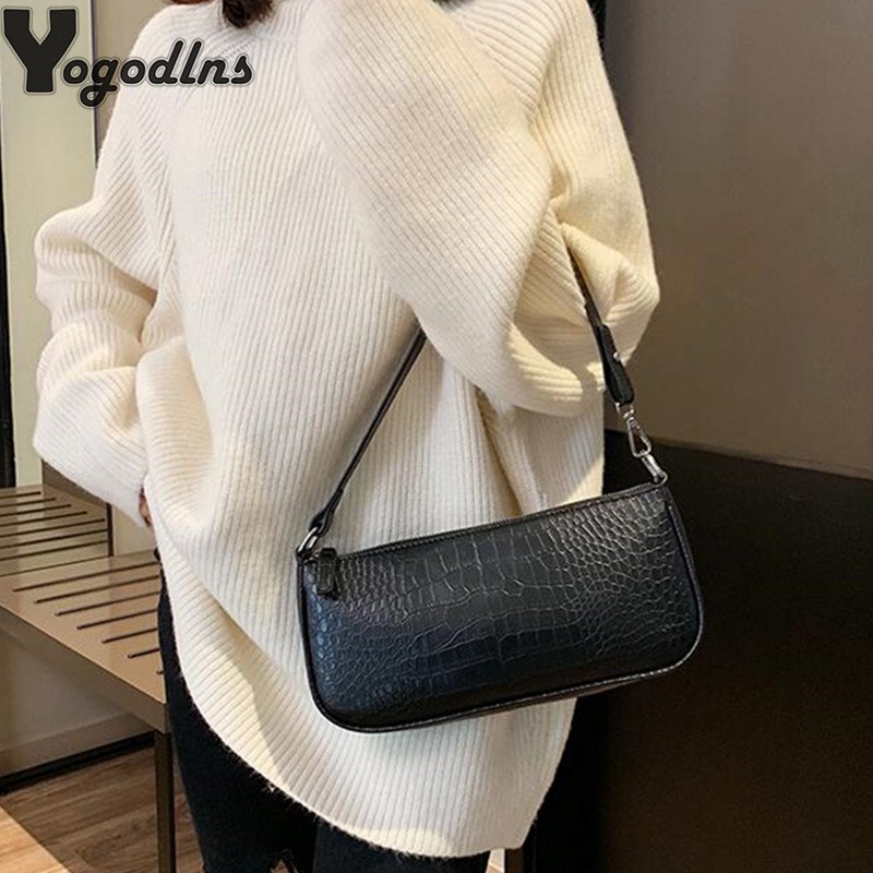 Retro Alligator Skin Pattern Female Small Handbags Short Strap Shoulder Bags Phone Purse Evening Clutch High Quality PU Leather