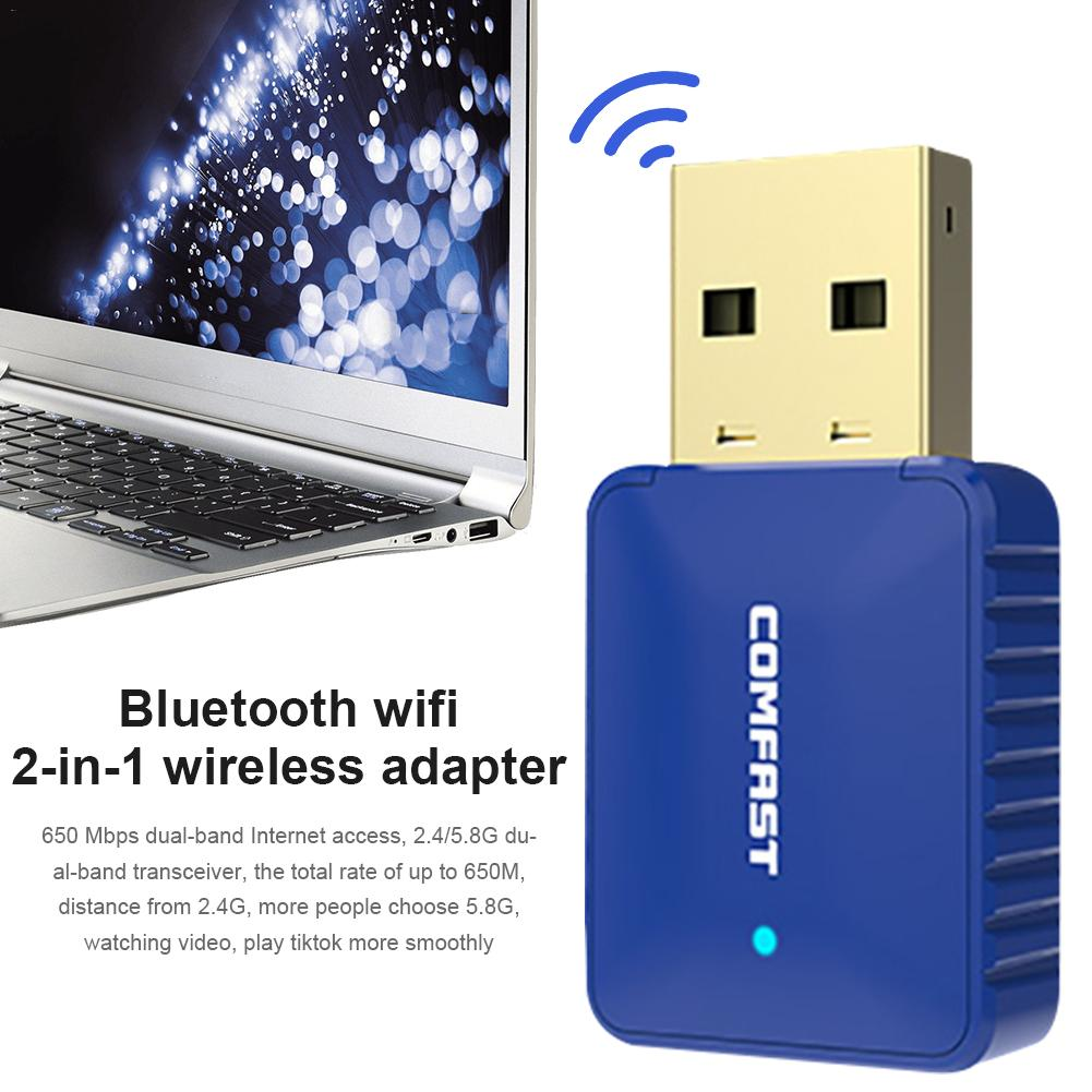 4.2 Bluetooth WiFi Adapter Receiver Two In One Wireless Network Card Adapter 650M For Computer Laptop Receiver