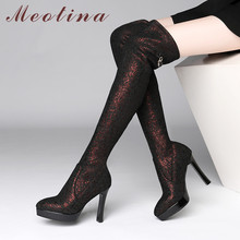 Meotina Winter Thigh High Boots Women Crystal Thin Heel Over The Knee Slim Stretch Extreme Shoes Lady Autumn 39