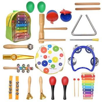 Set de instrumentos musicales de percusión de 19 Uds., juguetes educativos de ritmo y música para niños, conjunto de banda de sonajeros de madera, juguetes para niños, regalo