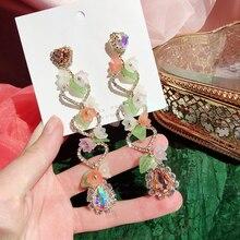 Drop-Earrings Jewelry Acrylic Flower Rhinestone MENGJIQIAO Heart Korean-Fashion Pendientes
