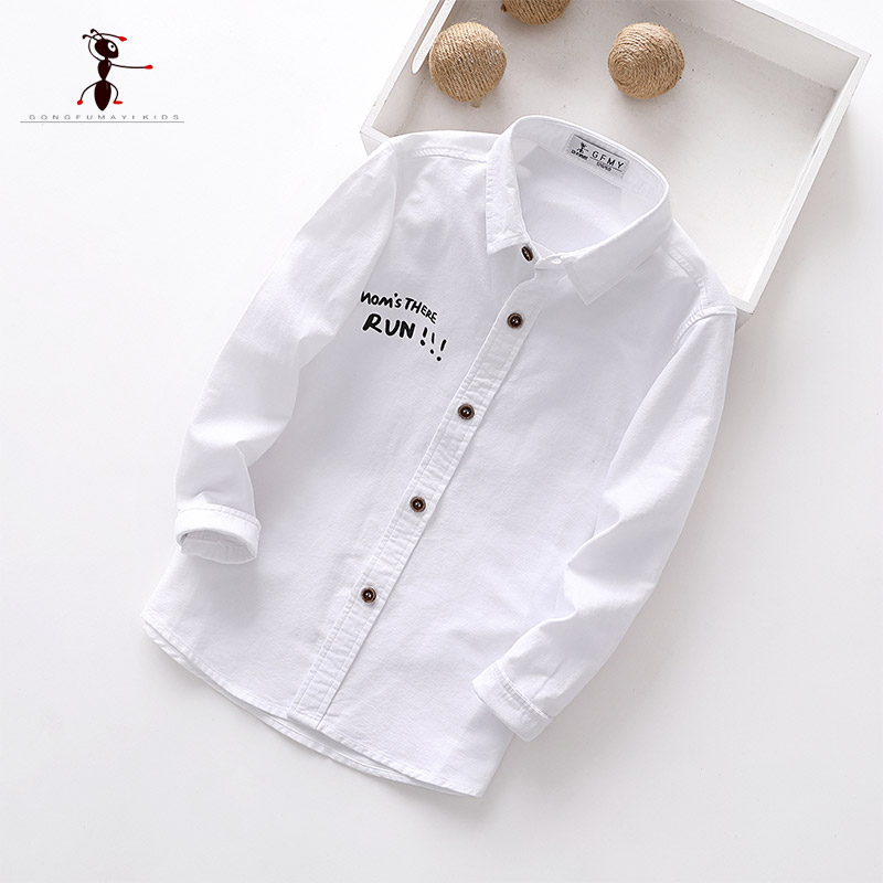 Kung Fu Ant 2019 Autumn  Casual Full Sleeve Turn-Down Collar letter 100% Cotton Childrens Shirts 10T Big Boy Shirt