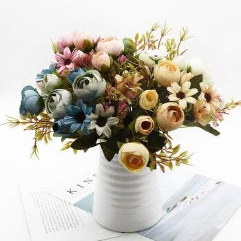 10 Bundles Artificial Flowers Bouquet Home Decoration Accessories Wedding Diy Christmas Vases For Decoration Flower Arrangement Leather Bag