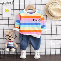 Autumn Baby Long Sleeve T-shirt and Jeans Suits Casual Toddler Tracksuits Children Boys Girls Clothing Sets Kids Clothes