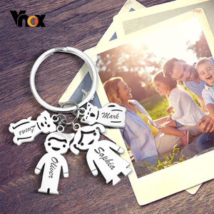 Vnox Family Love Key Chains Free Personalize Engrave Dad Mom Family Kids Pets Names Custom Stainless Steel DIY Gifts