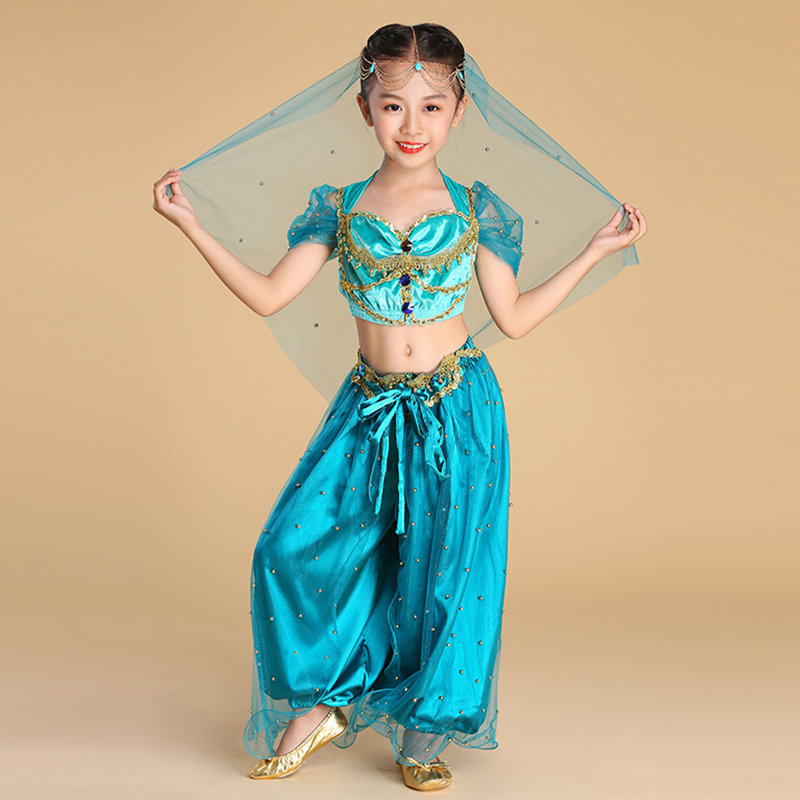 2019 Children Halloween Belly Dancing Jasmine Princess Costumes Kids <font><b>Bollywood</b></font> Costume 3 Pieces Set <font><b>Top</b></font> Pants Veils image