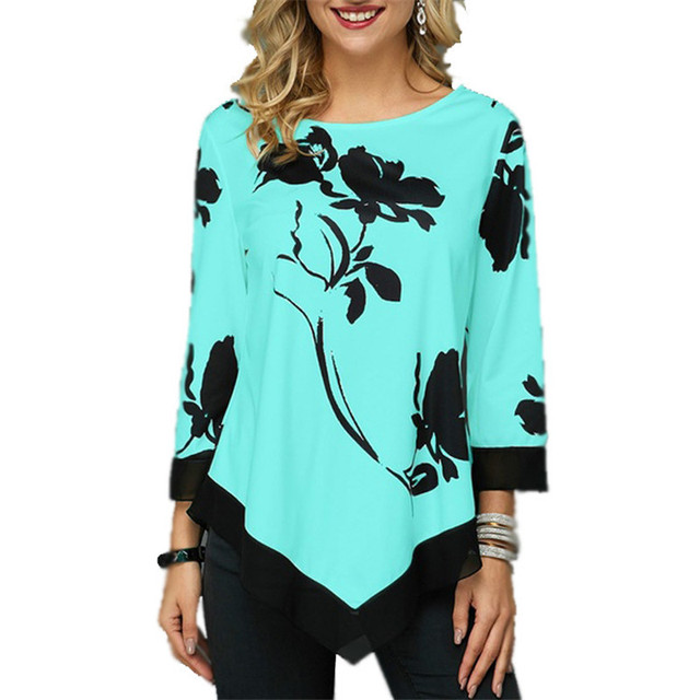 4XL Plus Size Women Blouses 2019 Autumn Tops Casual Long Sleeve Print Lace Patchwork Shirt Lady Irregular Blouse Large Size 5XL 4