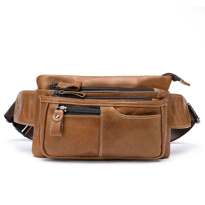 Men's Leather Chest Pack Multi-functional Cross Running Bag Full-grain Leather Casual Sports Shoulder Bag Mobile Phone Bag 8953