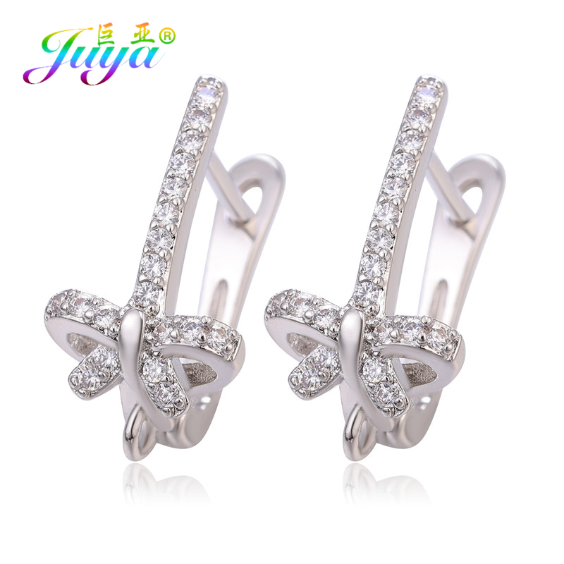 Juya DIY Cubic Zirconia Earwire Earring Hooks & Clasps Accessories For Women Fashion Dangle Earrings Making Material