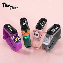 Водонепроницаемые электронные часы tike toker с браслетом для
