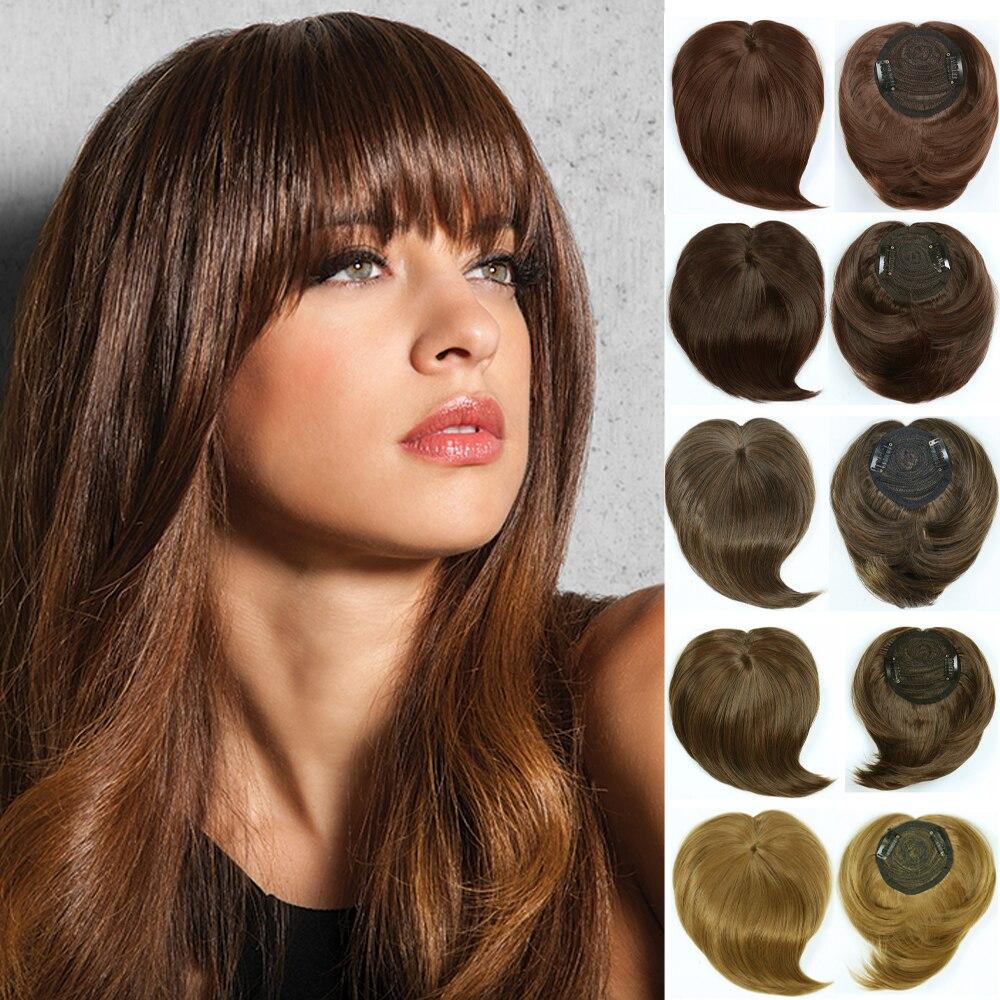 Шелковистые зажимные тупые челки Топпер для волос термостойкие волоконные удлинители синтетические шиньоны прямые шиньоны