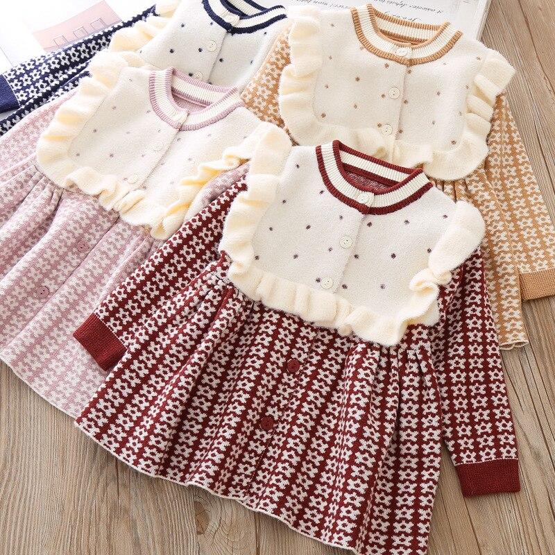 Лидер продаж года, осенне-зимнее Новое Стильное вязаное платье в западном стиле в Корейском стиле Детский свитер юбка принцессы A