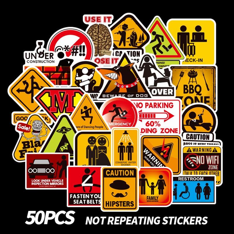 10/30/50pcs Warning Signs Kid Waterproof Stickers Guitar Skateboard Suitcase Danger Banning Reminder Children Graffiti Sticker