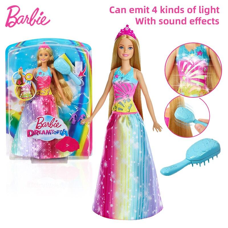 Подлинная Кукла Барби, модница, длинные светлые волосы, Радужное платье принцессы, волшебный светильник щетка, Детская развивающая игрушка FRB12