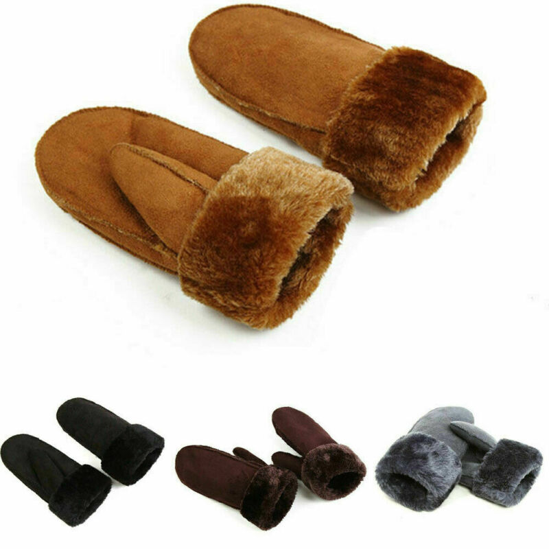 2019 Fashion New  Autumn Winter Women Ladies Gloves Solid Full Figure Mittens Fur Leather Warm Gloves