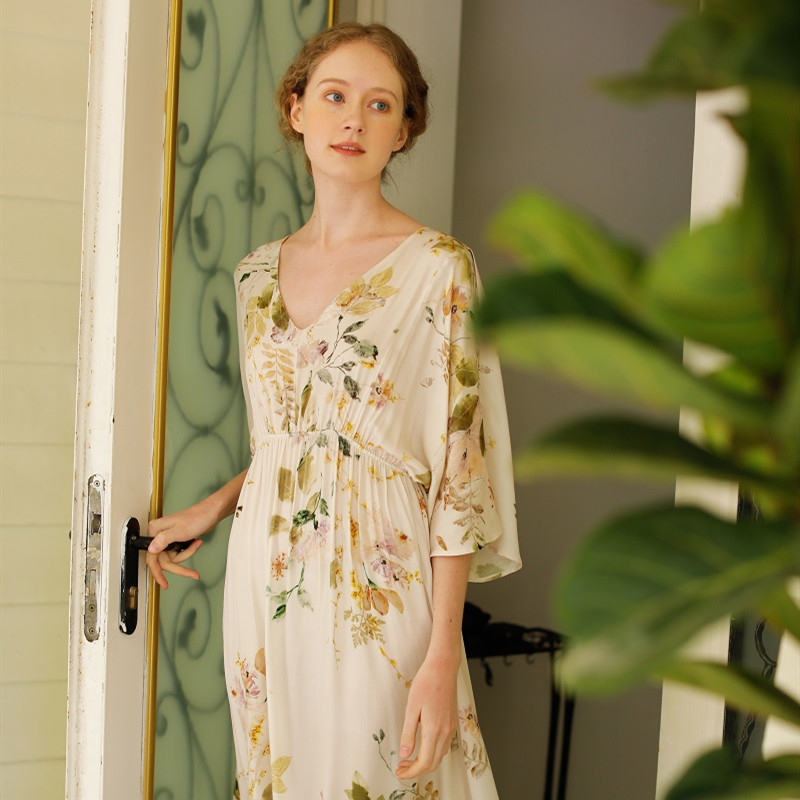 Spring Summer Viscose Women's Short Sleeve Floral Fashion Long Nightgowns Casual Loose Sleepwear Delicate Home Night Dress