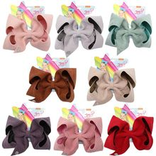 8Pcs/Lot 7 Jojo bows Siwa Large Hair Bows for Girls Clips Solid Corduroy HairPin Party Kids Accessories