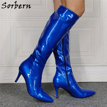 Sorbern Royal Blue Shiny Knee High Boots Ladies Low Heels Stilettos Pointed Toe Side Zipper Womens Size 11 Shoes Customized(China)