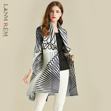 Thin Jacket Cardigan Autumn Coat Pleated Long-Sleeve White Stripe Woman LANMREM Simple