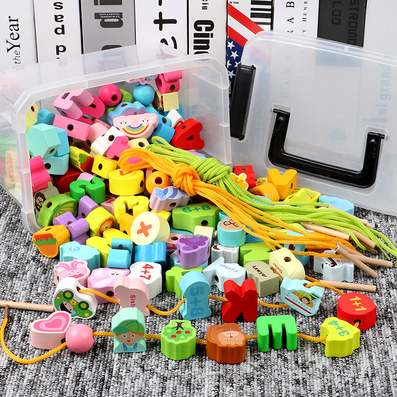 Solid Wood Baby Toy Educational Force Beaded Bracelet Sub-Infants Children Threading Building Blocks Men And Women Kids Wooden B