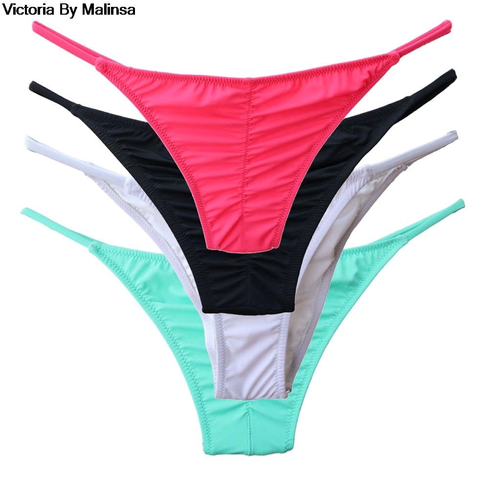 Woman Bikini Bottom Pink Low Waist Trunks For Girl Swimming Swimsuit Biquini Brazilian Bottoms Sexy Swimwear Black Thong Bottoms