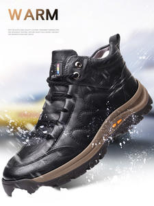 Winter Shoes Boots Cowhide Outdoors Designer Men Thick YWEEN Ankle for Man Composite-Sole
