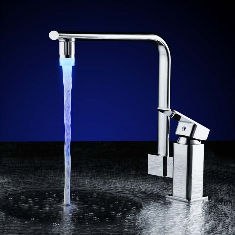 3/7 Colors NO Battery LED Water Faucet Tap Heads Glow LED Water Faucet Glow Temperature Sensor Home Kitchen Tap Bathroom Nozzle
