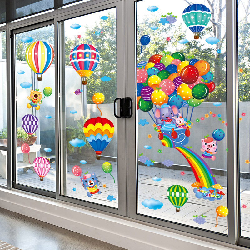 [SHIJUEHEZI] Hot Air Balloons Wall Stickers DIY Animal Pegatinas Mural Decals for Kids Rooms Baby Bedroom Home Decoration