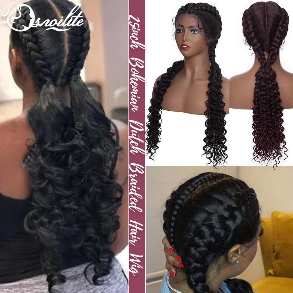 S-noilite Synthetic Lace Front Wig African American Women Braided Hair Wigs Two Twist Bohemian Box Braids Wig With Baby Hair